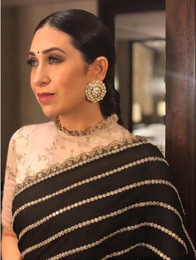 Karishma Kapoor in Big Floral Sabyasachi Studs