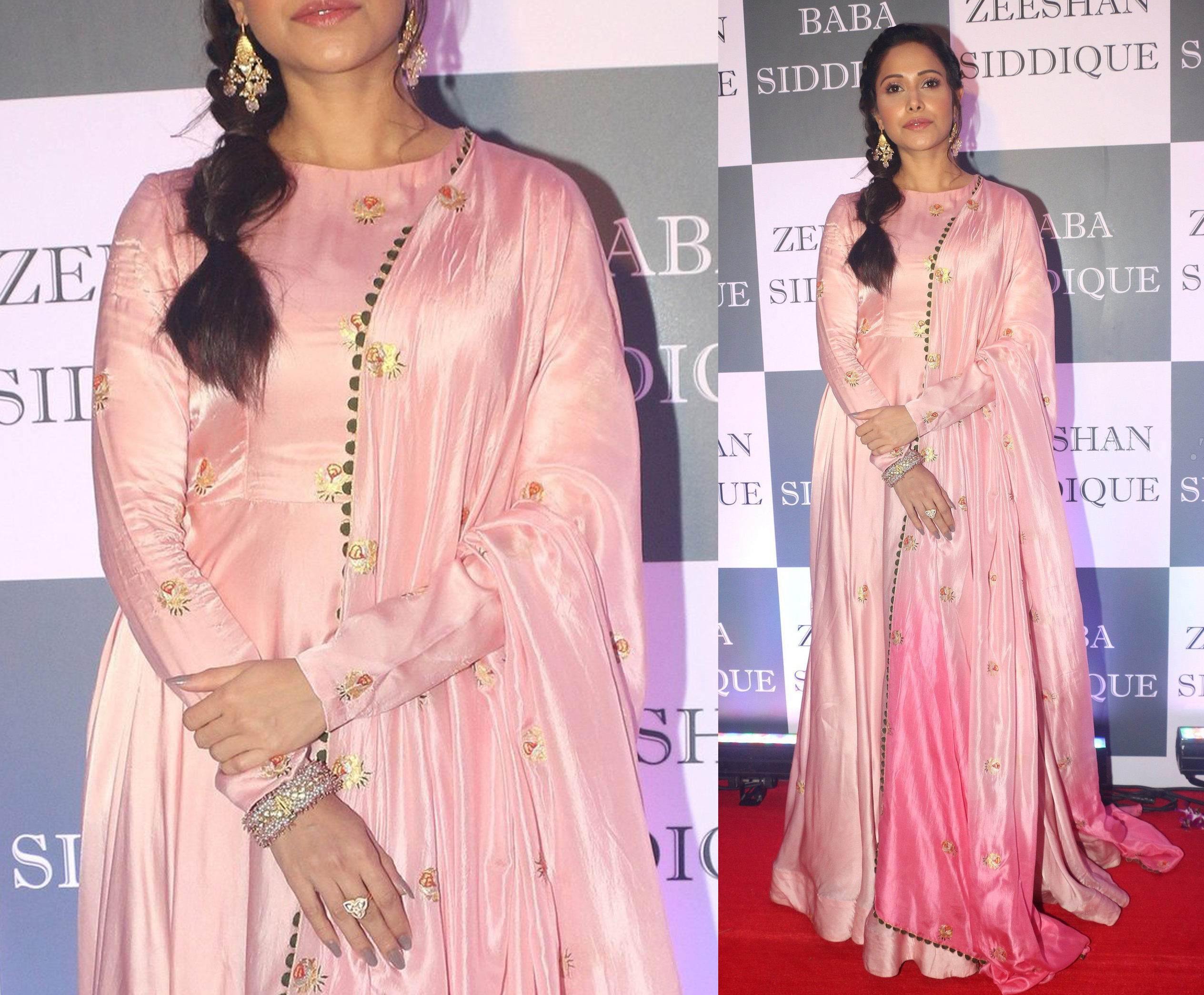 Nushrat Bharucha donned with a pink anarkali and dangling earrings