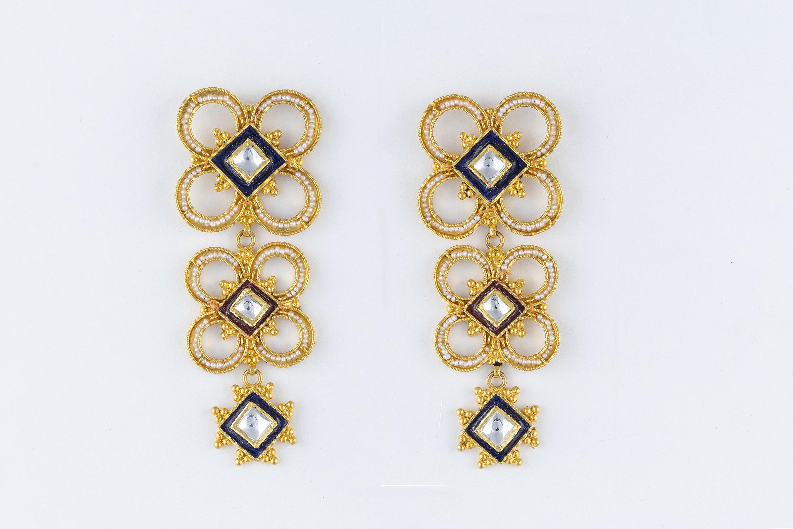 gold enamelled earrings- R Narayan Jewellers