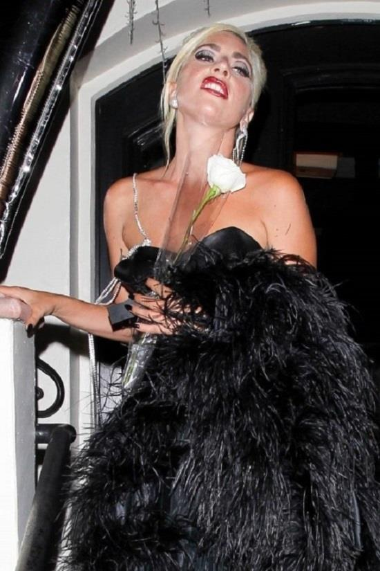 lady gaga in vegan leather dress