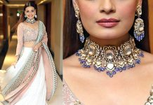 Dia Mirza choker necklace and earrings