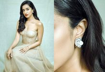 Shraddha Kapoor with diamond earrings