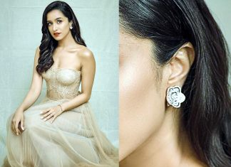 Shraddha Kapoor with diamond earrings