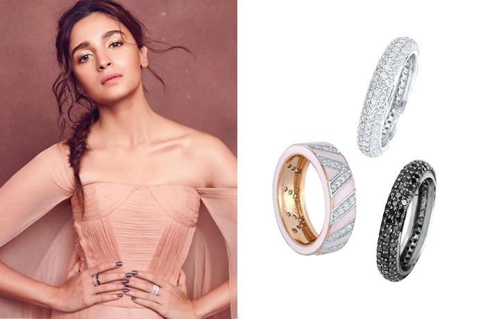 Alia bhatt with diamond rings set