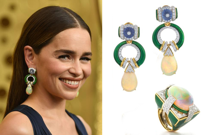 Emilia Clarke with statement earrings by David webb