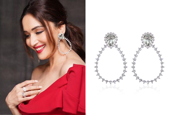 Madhuri Dixit with hoop/sage earrings