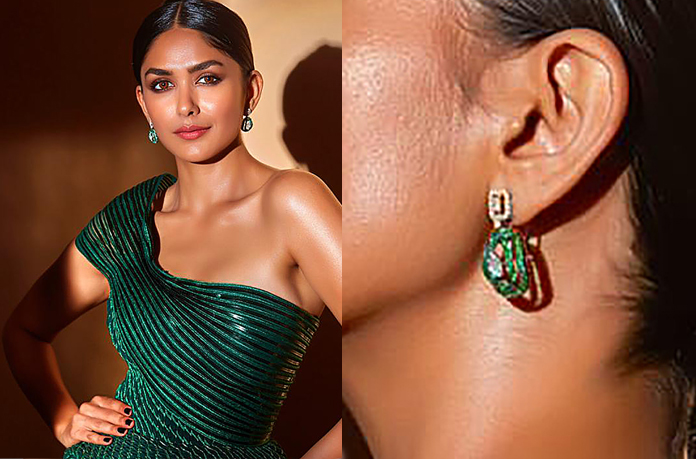 Mrunal Thakur in diamond & emerald earrings
