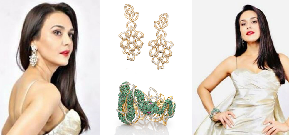 Preity G Zinta in sculptural couture earrings