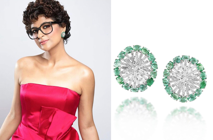 Tahira Kashyap Khurrana with emerald twinkling earrings