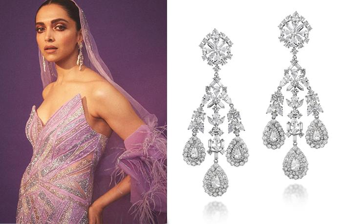 Deepika Padukone with diamond chandelier earrings
