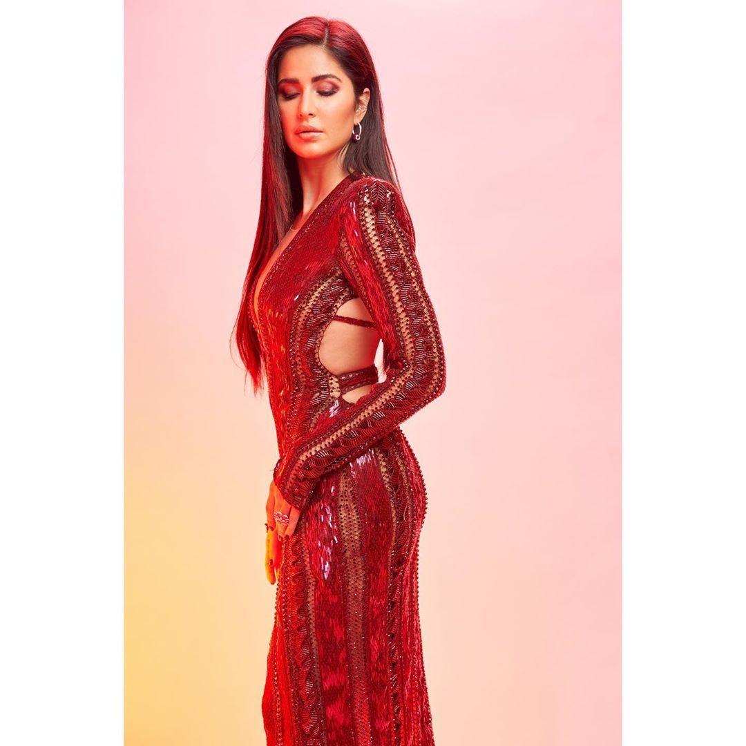 Katrina Kaif in hoop diamond earrings