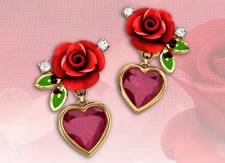 Candere-earrings-Raindrop-Roses