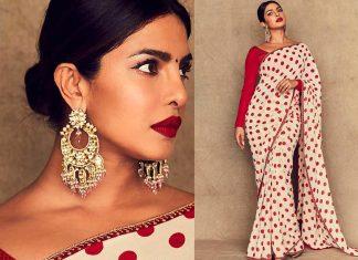 Priyanka Chopra in Sabyasachi Mukherjee Earrings