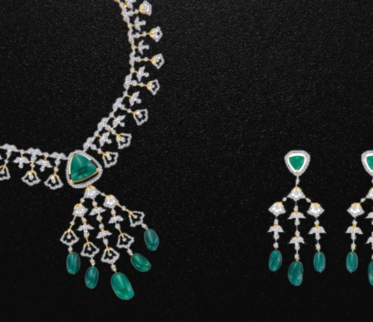 Emerald necklace and earrings- Reliance Jewels Atulya Collection
