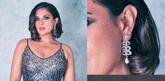 Rihca Chadda wearing Diamond earrings from Shri Paramani Jewellers