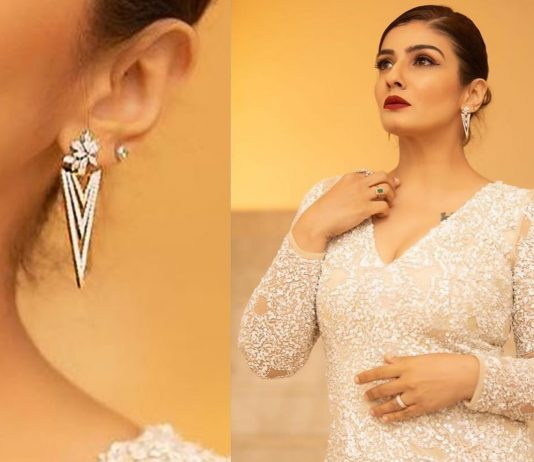 Raveena Tondon wearing diamond earrings