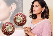 Richa Chaddha wearing ruby and diamond studs