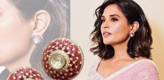 Richa Chaddha wearing ruby and diamond studs