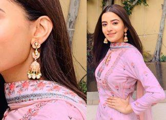 Rukshar Dhillon in Trendy Enamelled Jhumkis