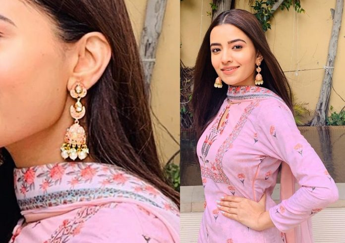 Rukshar Dhillon in Trendy Enamelled Jhumkis