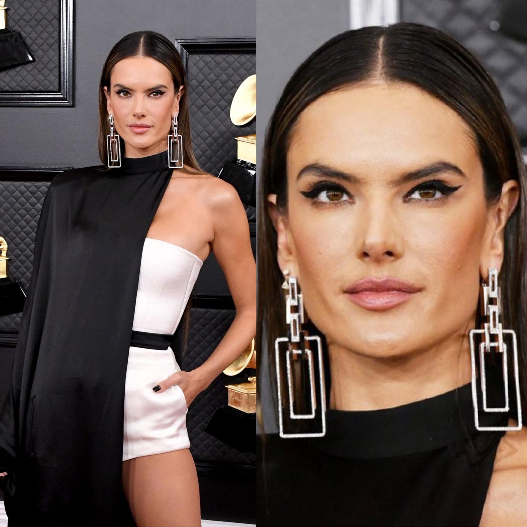 lessandra Ambrosio's big sized geometric earrings from Marli New York