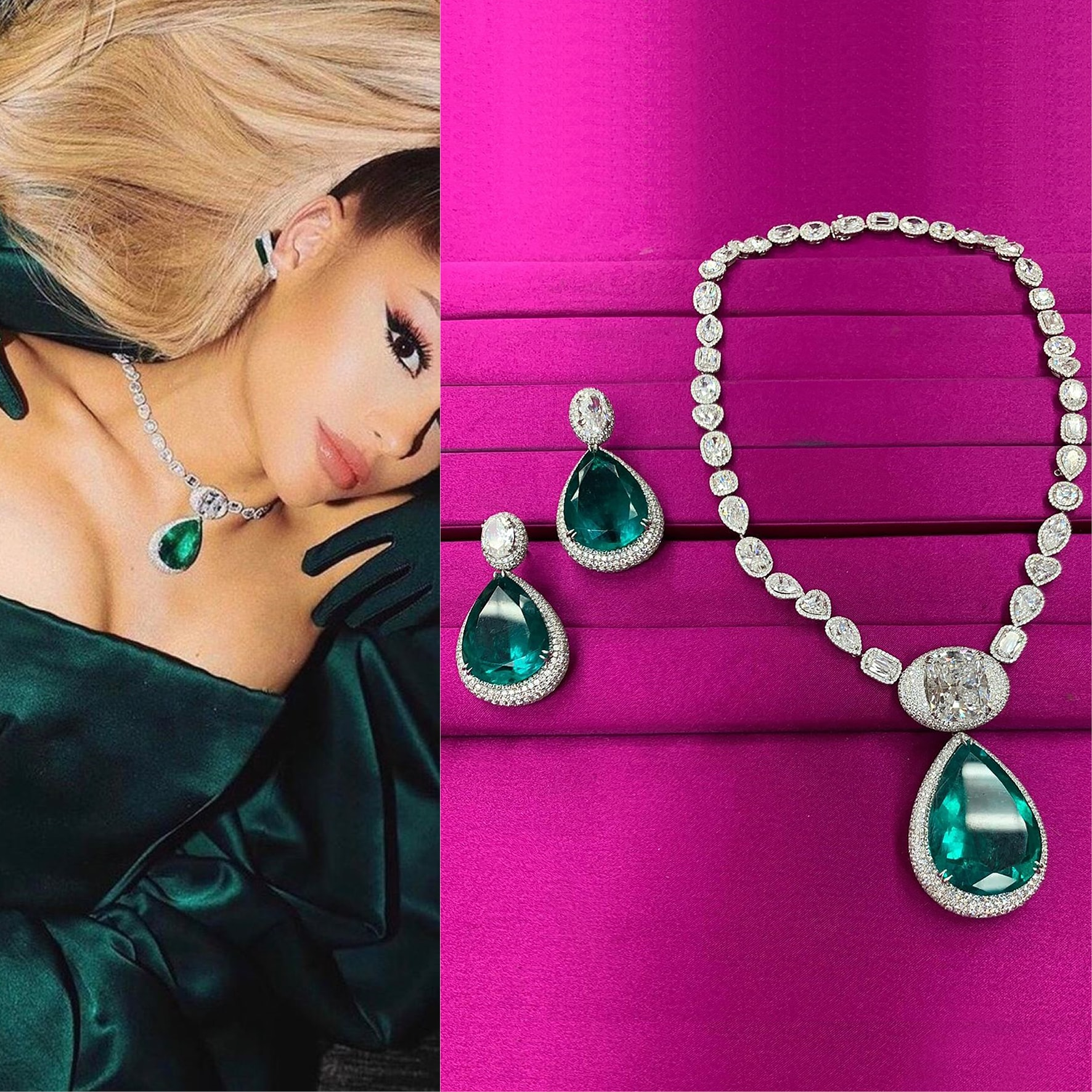 Ariana Grande picked up a voluptuous emerald and diamond earrings