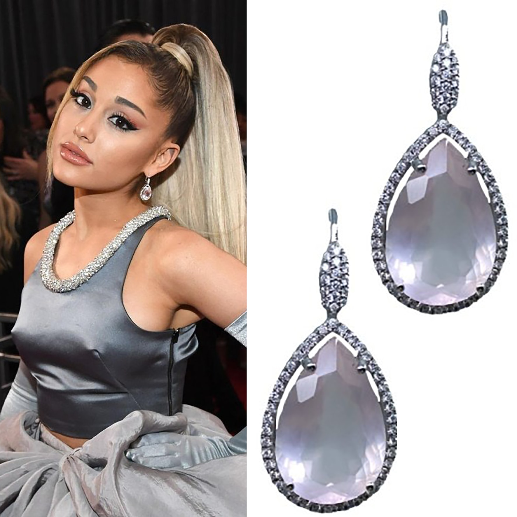 Ariana Grande with baby pink sapphire diamond earrings