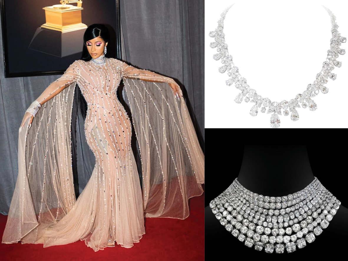 CardiB wearing diamond collar like necklace encrusted with white diamonds
