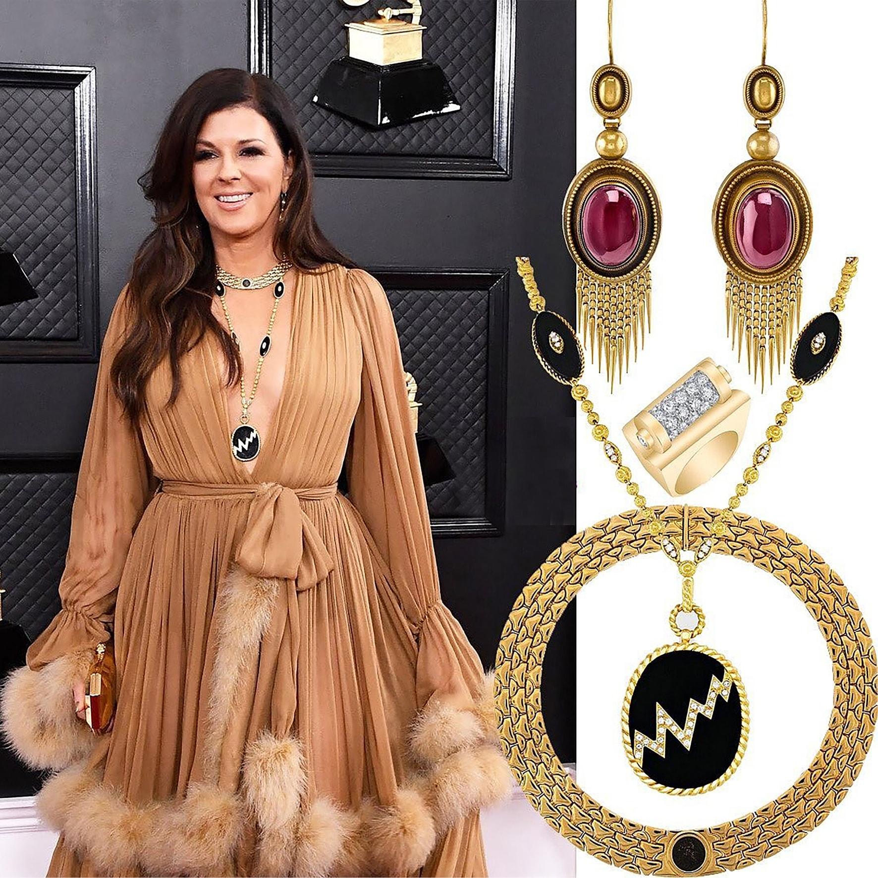 KAREN FAIRCHILD wearing garnet and gold fringe earrings and a diamond and gold retro ring