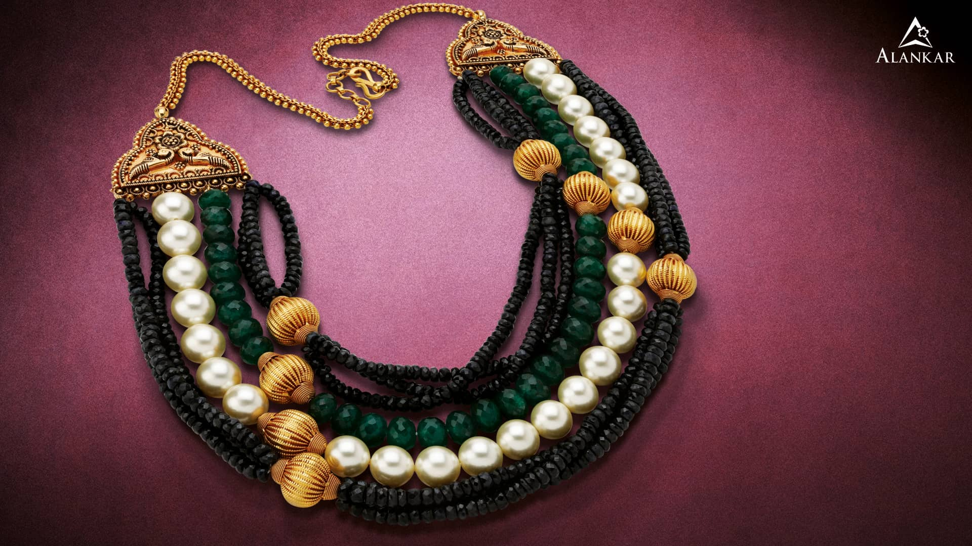 pearl gold necklace-Alankar Jewellers
