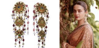 Suvreen Chawla wore a gorgeous and oversized heritage-inspired jhumka, an exaggerated shoulder-duster