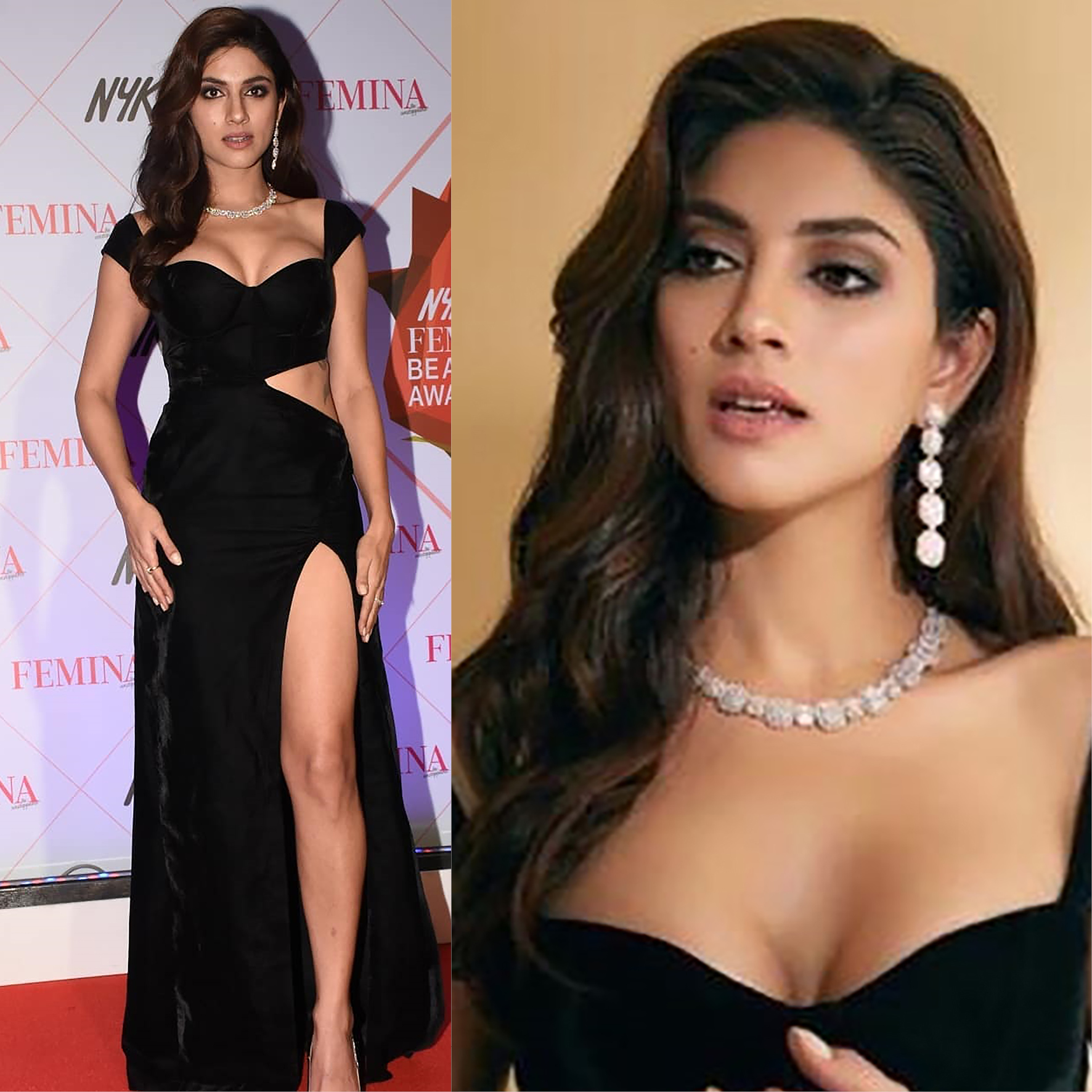Sapna Pabbi with diamond necklace and earrings