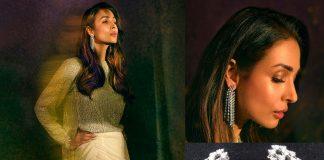Malaika Arora in linear diamond earrings