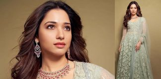 Tamannaah Bhatia with diamond and ruby necklace
